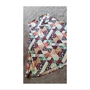 Lularoe Azure Midi A-line Skirt Navy & Cream Print
